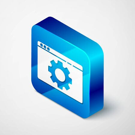Isometric Browser setting icon isolated on grey background. Adjusting, service, maintenance, repair, fixing. Blue square button. Vector Illustration Illustration