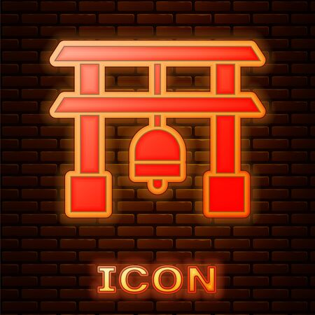 Glowing neon Japan Gate icon isolated on brick wall background. Torii gate sign. Japanese traditional classic gate symbol. Vector Illustration