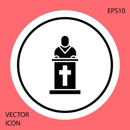 Black Church pastor preaching icon isolated on red background. White circle button. Vector Illustration