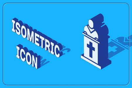 Isometric Church pastor preaching icon isolated on blue background. Vector Illustration