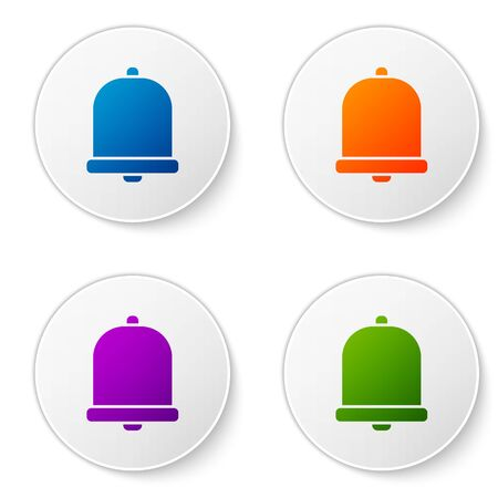 Color Church bell icon isolated on white background. Alarm symbol, service bell, handbell sign, notification symbol. Set icons in circle buttons. Vector Illustration