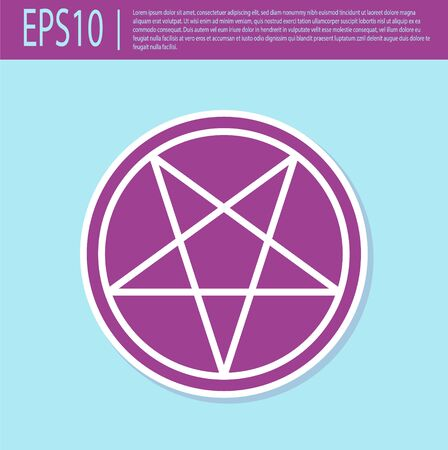 Retro purple Pentagram in a circle icon isolated on turquoise background. Magic occult star symbol. Vector Illustration