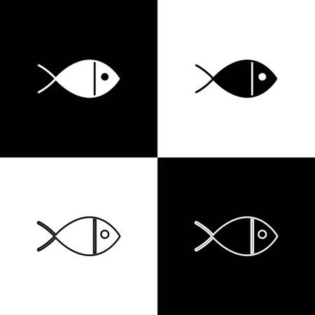 Set Christian fish symbol icon isolated on black and white background. Jesus fish symbol. Vector Illustration Illustration