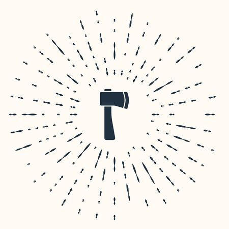 Grey Wooden axe icon isolated on beige background. Lumberjack axe. Abstract circle random dots. Vector Illustration