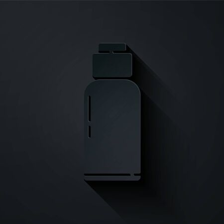 Paper cut Canteen water bottle icon isolated on black background. Tourist flask icon. Jar of water use in the campaign. Paper art style. Vector Illustration