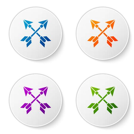 Color Crossed arrows icon isolated on white background. Set icons in circle buttons. Vector Illustration Çizim