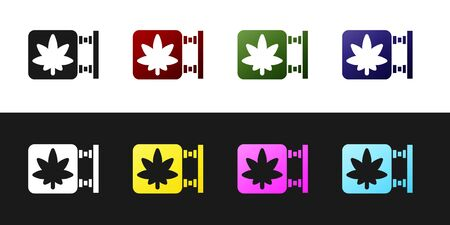 Set Marijuana and cannabis store icon isolated on black and white background. Equipment and accessories for smoking, storing medical cannabis. Vector Illustration