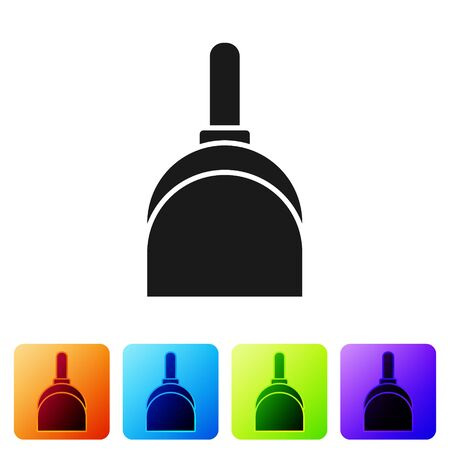 Black Dustpan icon isolated on white background. Cleaning scoop services. Set icons in color square buttons. Vector Illustration
