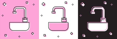 Set Washbasin with water tap icon isolated on pink and white, black background. Vector Illustration  イラスト・ベクター素材