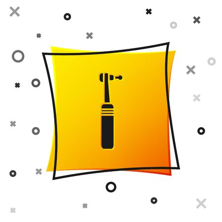 Black Tooth drill icon isolated on white background. Dental handpiece for drilling and grinding tools. Medical instrument. Yellow square button. Vector Illustration Vettoriali