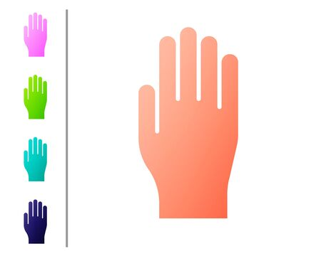 Coral Medical rubber gloves icon isolated on white background. Protective rubber gloves. Set color icons. Vector Illustration Vettoriali
