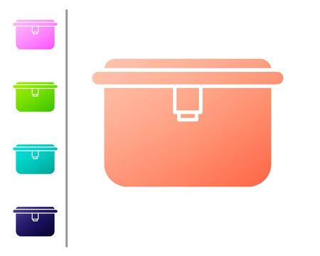 Coral Lunch box icon isolated on white background. Set color icons. Vector Illustration