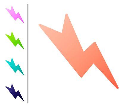 Coral Lightning bolt icon isolated on white background. Flash sign. Charge flash icon. Thunder bolt. Lighting strike. Set color icons. Vector Illustration 向量圖像