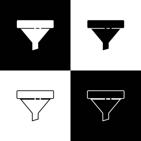 Set Sales funnel with arrows for marketing and startup business icon isolated on black and white background. Infographic template. Vector Illustration
