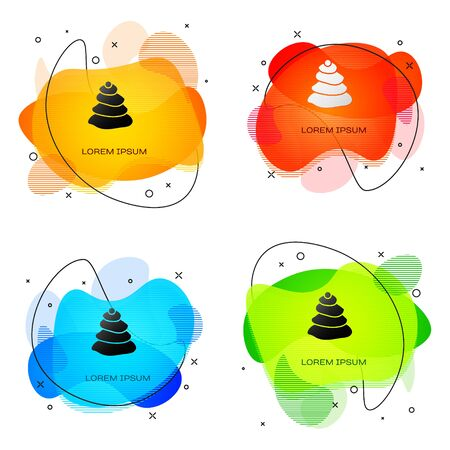 Black Stack hot stones icon isolated on white background. Spa salon accessory. Abstract banner with liquid shapes. Vector Illustration 向量圖像