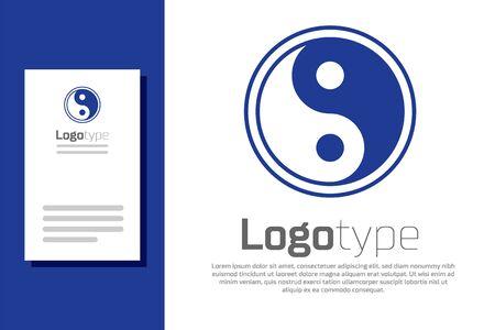Blue Yin Yang symbol of harmony and balance icon isolated on white background.