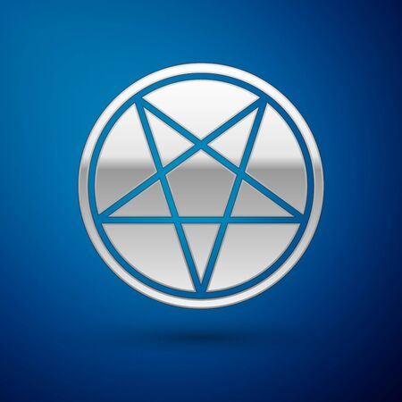 Silver Pentagram in a circle icon isolated on blue background. Magic occult star symbol. Vector Illustration