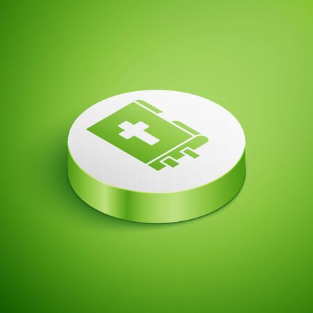 Isometric Holy bible book icon isolated on green background. White circle button. Vector Illustration