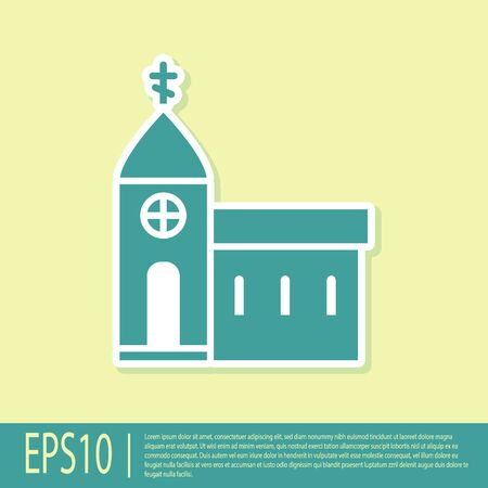 Green Church building icon isolated on yellow background. Christian Church. Religion of church. Vector Illustration