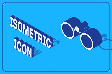 Isometric Binoculars icon isolated on blue background. Find software sign. Spy equipment symbol. Vector Illustration