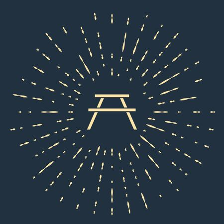Beige Picnic table with benches on either side of the table icon isolated on blue background. Abstract circle random dots. Vector Illustration 일러스트