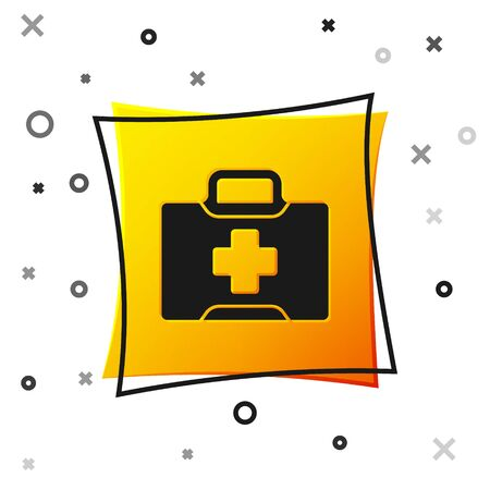 Black First aid kit icon isolated on white background. Medical box with cross. Medical equipment for emergency. Healthcare concept. Yellow square button. Vector Illustration Ilustracja