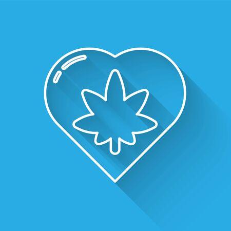 White line Marijuana leaf in heart shape icon isolated with long shadow. Hemp symbol. Vector Illustration