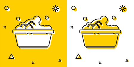 Black Plastic basin with soap suds icon isolated on yellow and white background. Bowl with water. Washing clothes, cleaning equipment. Random dynamic shapes. Vector Illustration