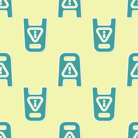 Green Wet floor and cleaning in progress icon isolated seamless pattern on yellow background. Cleaning service concept. Vector Illustration