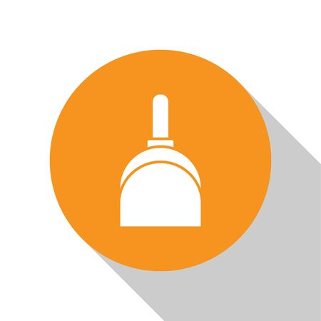 White Dustpan icon isolated on white background. Cleaning scoop services. Orange circle button. Vector Illustration