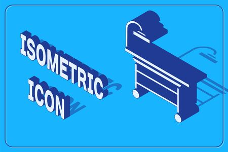 Isometric Operating table icon isolated on blue background. Vector Illustration