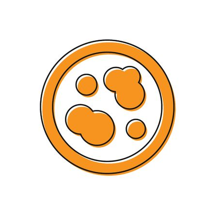 Orange Petri dish with bacteria icon isolated on white background. Vector Illustration