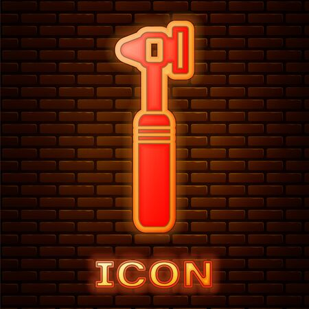 Glowing neon Medical otoscope tool icon isolated on brick wall background. Medical instrument. Vector Illustration Vectores