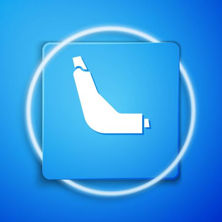 White Inhaler icon isolated on blue background. Breather for cough relief, inhalation, allergic patient. Blue square button. Vector Illustration Vectores
