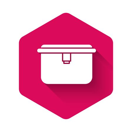 White Lunch box icon isolated with long shadow. Pink hexagon button. Vector Illustration Illustration