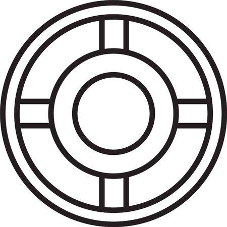 Black line Ashtray icon isolated on white background. Vector Illustration Illustration