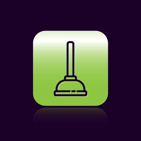 Black line Rubber plunger with wooden handle for pipe cleaning icon isolated on black background. Toilet plunger. Green square button. Vector Illustration Illustration
