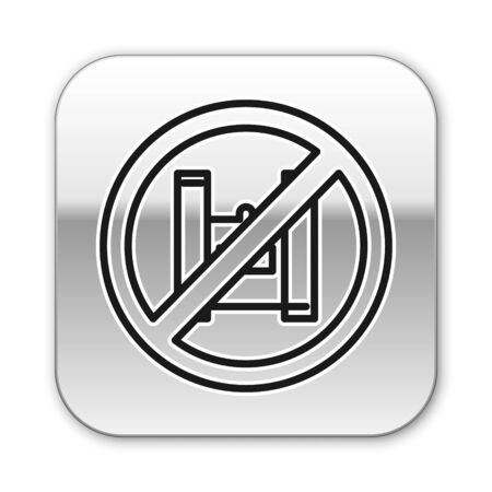 Black line Say no to plastic bags poster icon isolated on white background. Disposable cellophane and polythene package prohibition sign. Silver square button. Vector Illustration