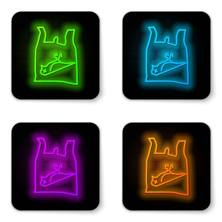 Glowing neon line Dead bird, plastic icon isolated on white background. Element of pollution problems sign. Black square button. Vector Illustration