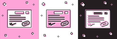 Set Warranty certificate template icon isolated on pink and white, black background. Vector Illustration