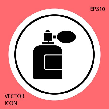 Black Aftershave bottle with atomizer icon isolated on red background. Cologne spray icon. Male perfume bottle. White circle button. Vector Illustration