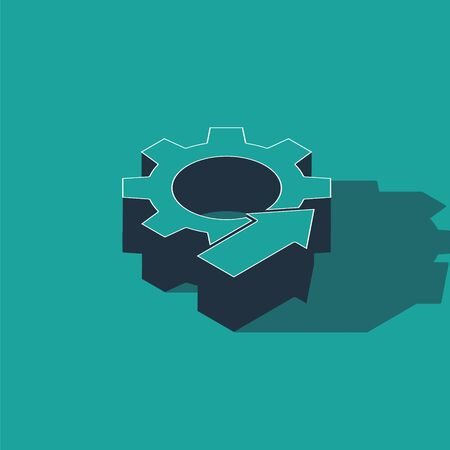 Isometric Arrow growth gear business icon isolated on green background. Productivity icon. Vector Illustration