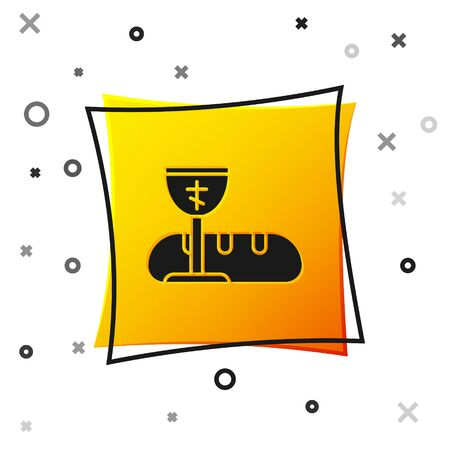 Black First communion symbols for a nice invitation icon isolated on white background. Yellow square button. Vector Illustration
