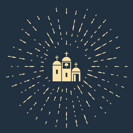 Beige Church building icon isolated on blue background. Christian Church. Religion of church. Abstract circle random dots. Vector Illustration