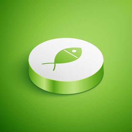 Isometric Christian fish symbol icon isolated on green background. Jesus fish symbol. White circle button. Vector Illustration