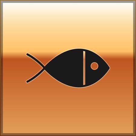Black Christian fish symbol icon isolated on gold background. Jesus fish symbol. Vector Illustration