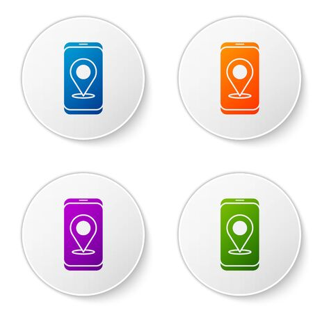 Color Infographic of city map navigation icon isolated on white background. Mobile App Interface concept design. Geolacation concept. Set icons in circle buttons. Vector Illustration
