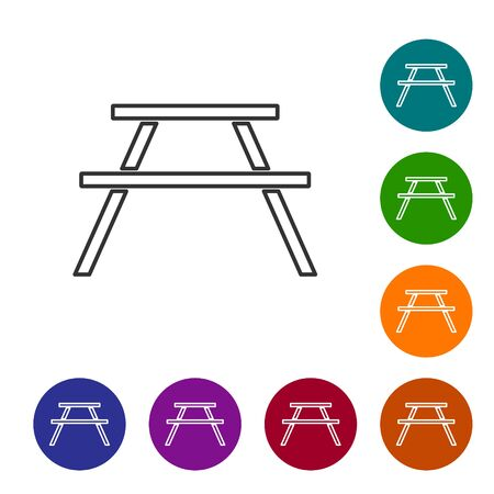 Black line Picnic table with benches on either side of the table icon isolated on white background. Set icons in color circle buttons. Vector Illustration