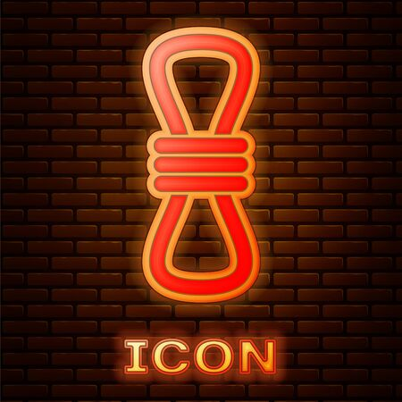 Glowing neon Climber rope icon isolated on brick wall background. Extreme sport. Sport equipment. Vector Illustration