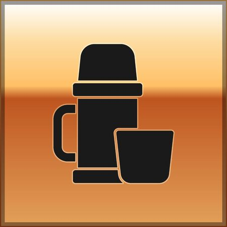 Black Thermos container and cup icon isolated on gold background. Thermo flask icon. Camping and hiking equipment. Vector Illustration